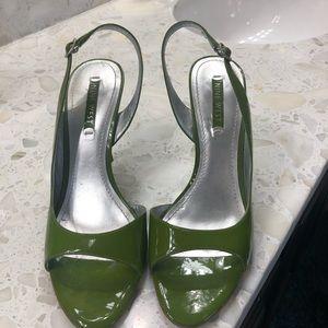 Green sling back heeled sandal